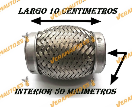 TUBO MALLA FLEXIBLE ESCAPE DE 50 MM DE INTERIOR Y LARGO 10 CENTIMETROS ACERO INOXIDABLE REFORZADO ADAPTABLE UNIVERSAL