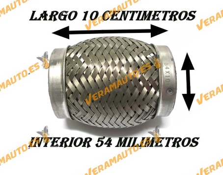 TUBO MALLA FLEXIBLE ESCAPE DE 54 MM DE INTERIOR Y LARGO 10 CENTIMETROS ACERO INOXIDABLE REFORZADO ADAPTABLE UNIVERSAL