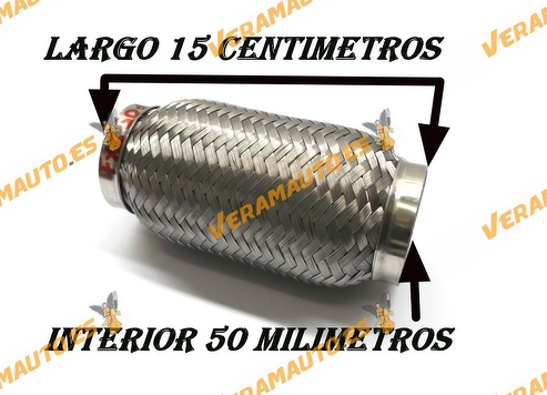 TUBO MALLA FLEXIBLE ESCAPE DE 50 MM DE INTERIOR Y LARGO 15 CENTIMETROS ACERO INOXIDABLE REFORZADO ADAPTABLE UNIVERSAL