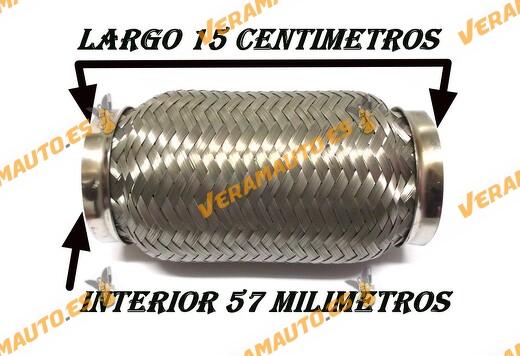 TUBO MALLA FLEXIBLE ESCAPE DE 57 MM DE INTERIOR Y LARGO 15 CENTIMETROS ACERO INOXIDABLE REFORZADO ADAPTABLE UNIVERSAL