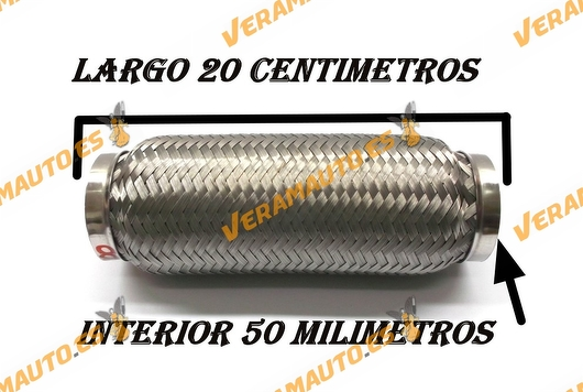 TUBO MALLA FLEXIBLE ESCAPE DE 50 MM DE INTERIOR Y LARGO 20 CENTIMETROS ACERO INOXIDABLE REFORZADO ADAPTABLE UNIVERSAL