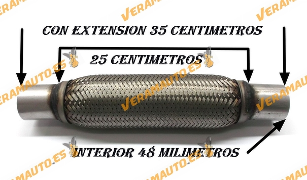 TUBO MALLA FLEXIBLE ESCAPE DE 48 MM DE INTERIOR Y LARGO 25 CENTIMETROS CON EXTENSION ACERO INOXIDABLE REFORZADO ADAPTABLE