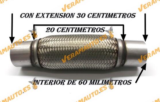 TUBO MALLA FLEXIBLE ESCAPE DE 60 MM DE INTERIOR Y LARGO 20 CENTIMETROS CON EXTENSION ACERO INOXIDABLE REFORZADO ADAPTABLE