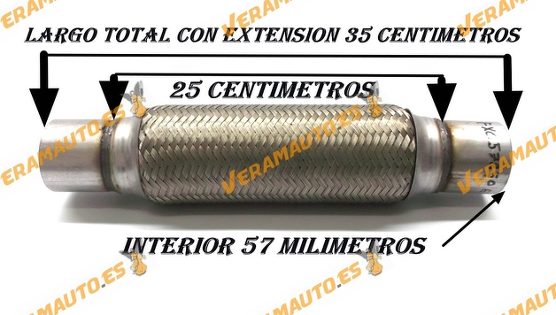 TUBO MALLA FLEXIBLE ESCAPE DE 57 MM DE INTERIOR Y LARGO 25 CENTIMETROS CON EXTENSION ACERO INOXIDABLE REFORZADO ADAPTABLE