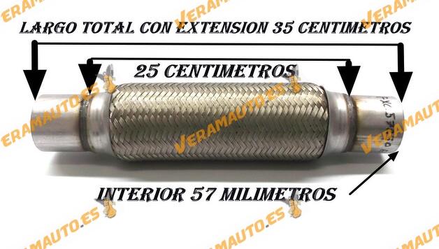 TUBO MALLA FLEXIBLE ESCAPE DE 57 MM DE INTERIOR Y LARGO 25 CENTIMETROS CON EXTENSION ACERO INOXIDABLE REFORZADO ADAPTABLE