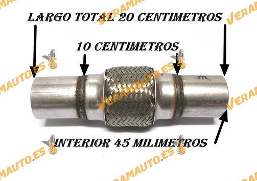 TUBO MALLA FLEXIBLE ESCAPE DE 45 MM DE INTERIOR Y LARGO 10 CENTIMETROS CON EXTENSION ACERO INOXIDABLE REFORZADO ADAPTABLE
