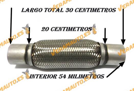 Tubo de malla flexible de 54 mm de interior y 20 cm de largo con extensión, de acero inoxidable reforzado