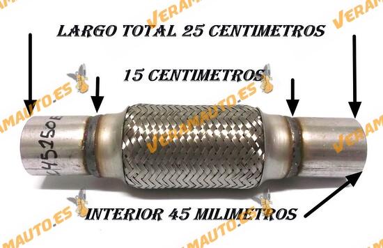 TUBO MALLA FLEXIBLE ESCAPE DE 45 MM DE INTERIOR Y LARGO 15 CENTIMETROS CON EXTENSION ACERO INOXIDABLE REFORZADO ADAPTABLE