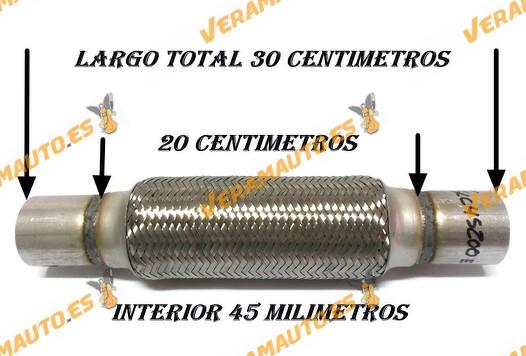 TUBO MALLA FLEXIBLE ESCAPE DE 45 MM DE INTERIOR Y LARGO 20 CENTIMETROS CON EXTENSION ACERO INOXIDABLE REFORZADO ADAPTABLE