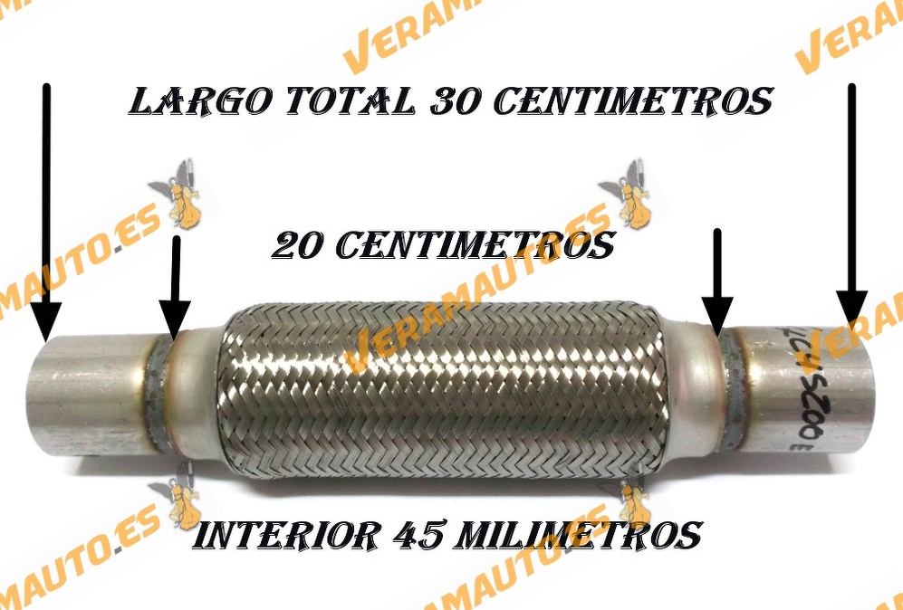 TUBO MALLA FLEXIBLE ESCAPE DE 45 MM DE INTERIOR Y LARGO 20 CENTIMETROS CON EXTENSION ACERO INOXIDABLE REFORZADO ADAPTABLE