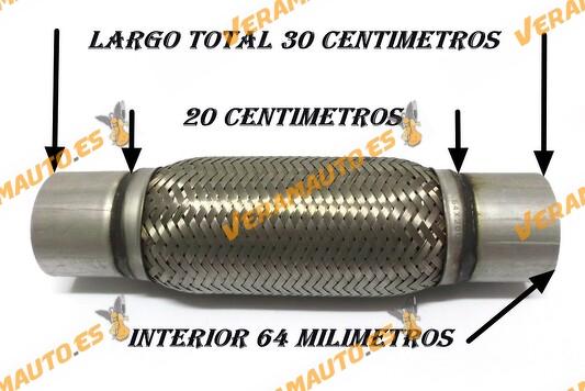 TUBO MALLA FLEXIBLE ESCAPE DE 64 MM DE INTERIOR Y LARGO 20 CENTIMETROS CON EXTENSION ACERO INOXIDABLE REFORZADO ADAPTABLE