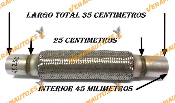 TUBO MALLA FLEXIBLE ESCAPE DE 45 MM DE INTERIOR Y LARGO 25 CENTIMETROS CON EXTENSION ACERO INOXIDABLE REFORZADO ADAPTABLE