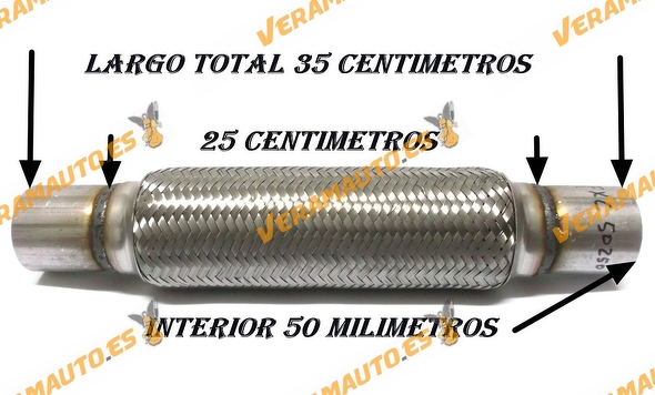 TUBO MALLA FLEXIBLE ESCAPE DE 50 MM DE INTERIOR Y LARGO 25 CENTIMETROS CON EXTENSION ACERO INOXIDABLE REFORZADO ADAPTABLE
