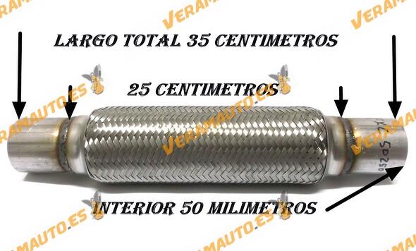 TUBO MALLA FLEXIBLE ESCAPE DE 50 MM DE INTERIOR Y LARGO 25 CENTIMETROS CON EXTENSION ACERO INOXIDABLE REFORZADO ADAPTABLE