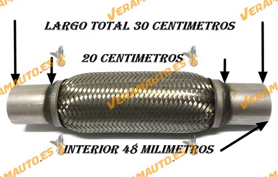 TUBO MALLA FLEXIBLE ESCAPE DE 48 MM DE INTERIOR Y LARGO 20 CENTIMETROS CON EXTENSION ACERO INOXIDABLE REFORZADO ADAPTABLE