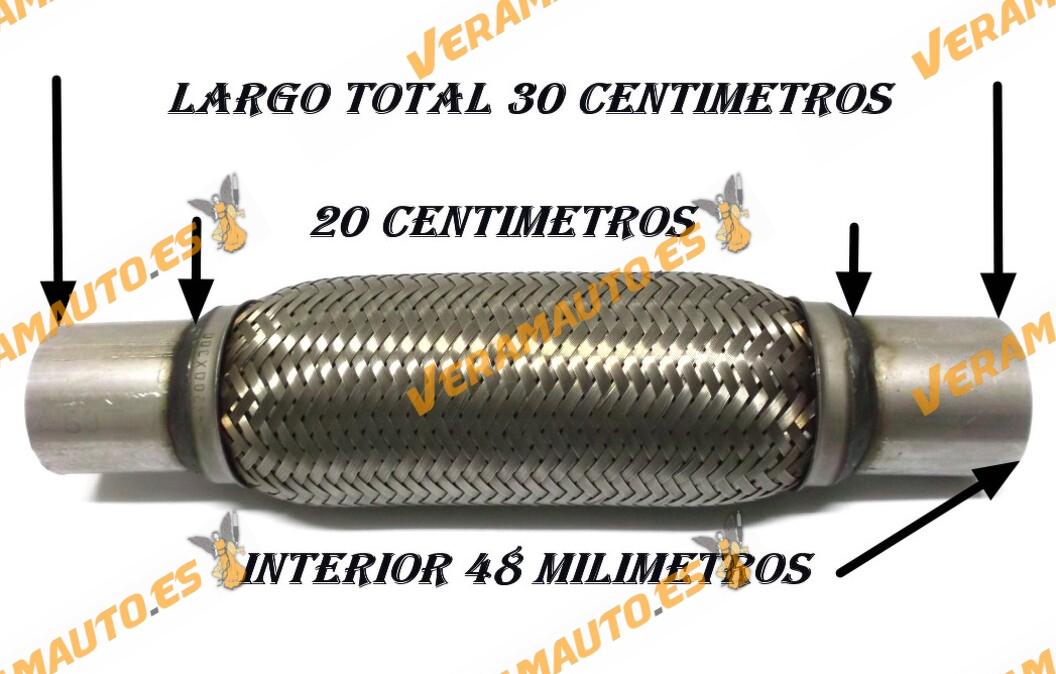 TUBO MALLA FLEXIBLE ESCAPE DE 48 MM DE INTERIOR Y LARGO 20 CENTIMETROS CON EXTENSION ACERO INOXIDABLE REFORZADO ADAPTABLE