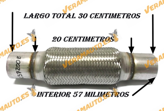 TUBO MALLA FLEXIBLE ESCAPE DE 57 MM DE INTERIOR Y LARGO 20 CENTIMETROS CON EXTENSION ACERO INOXIDABLE REFORZADO ADAPTABLE