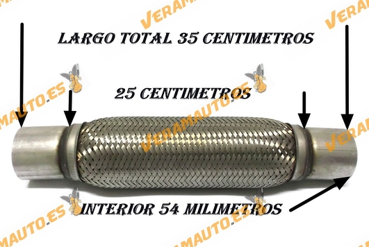 TUBO MALLA FLEXIBLE ESCAPE DE 54 MM DE INTERIOR Y LARGO 25 CENTIMETROS CON EXTENSION ACERO INOXIDABLE REFORZADO ADAPTABLE