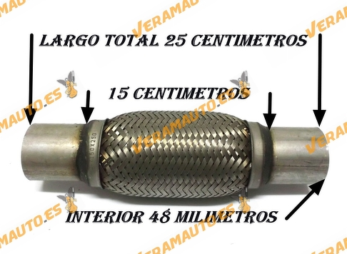 TUBO MALLA FLEXIBLE ESCAPE DE 48 MM DE INTERIOR Y LARGO 15 CENTIMETROS CON EXTENSION ACERO INOXIDABLE REFORZADO ADAPTABLE