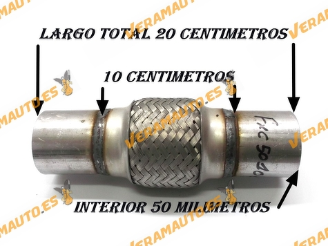 TUBO MALLA FLEXIBLE ESCAPE DE 50 MM DE INTERIOR Y LARGO 10 CENTIMETROS CON EXTENSION ACERO INOXIDABLE REFORZADO ADAPTABLE