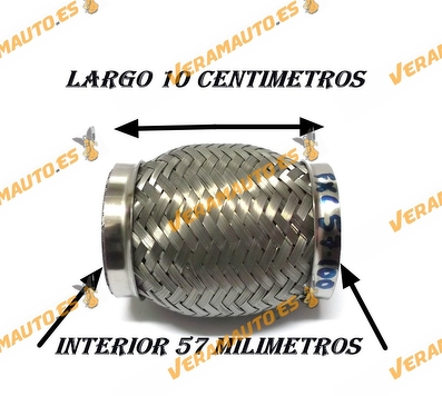 TUBO MALLA FLEXIBLE DE ESCAPE DE 57 MM DE INTERIOR Y LARGO 10 CENTIMETROS ACERO INOXIDABLE REFORZADO ADAPTABLE