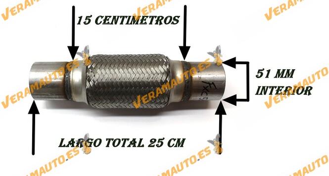 Tubo de malla flexible de 50mm de interior y 15 cm de largo con extensión, de acero inoxidable reforzado de alta calidad