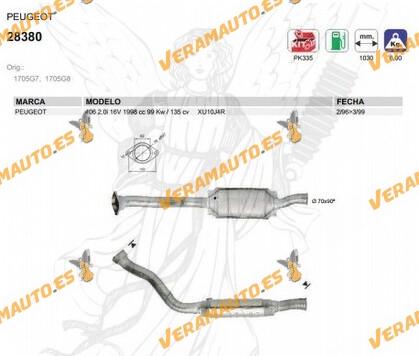 CATALIZADOR ESPECIFICO PEUGEOT 406 2.0i 16V 1998 cc 99 Kw / 135 cv XU10J4R 1996 AL 1999 SIMILAR A 1705G7, 1705G8