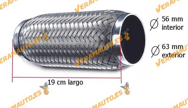 Tubo de malla flexible de escape de 19 cm de largo y 56 mm de interior de acero inoxidable reforzado de alta calidad