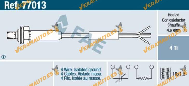 Flyn universal Sonda Lambda normalmente Sonda Diagn/óstico Sonda 4/pines Antes//Despu/és de Cat 03d906265