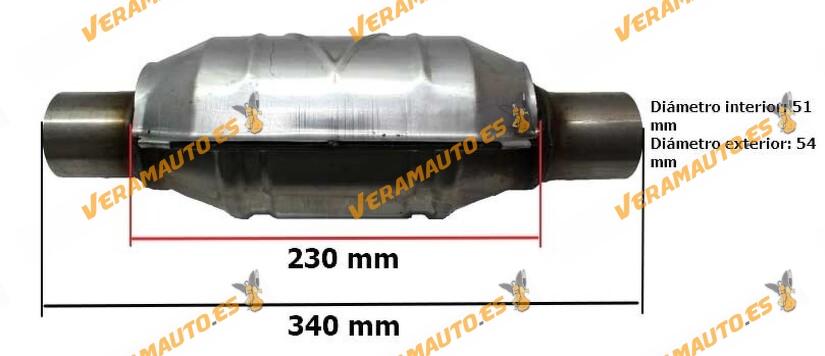 Catalizador universal adaptable redondo modelos gasolina con protección calorífica 51 mm diámetro interior Norma Euro IV