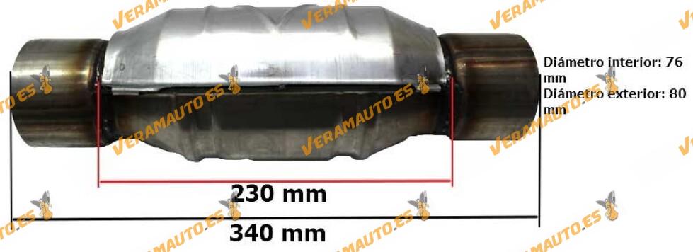 Catalizador motores gasolina 76 mm diámetro interior universal adaptable redondo con protección calorífica Norma Euro IV