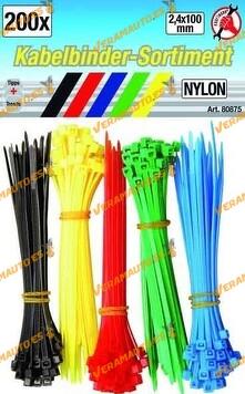Bridas de plástico 5 colores, medidas 2.4 x 100mm, Set 200 piezas