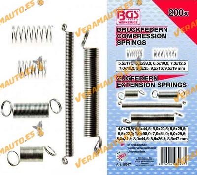 Muelles de compresión y extensión, surtido 200 piezas