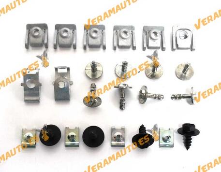 Juego de tornillería para protección bajo motor BMW serie 3 E46 (todos los modelos) Juego compuesto por 24 piezas