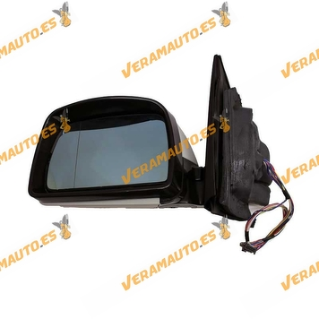 Espejo retrovisor BMW X5 E53 izquierdo, imprimado, eléctrico, térmico, memoria, abatible, cristal azul, 12+2pin OEM 51167039909