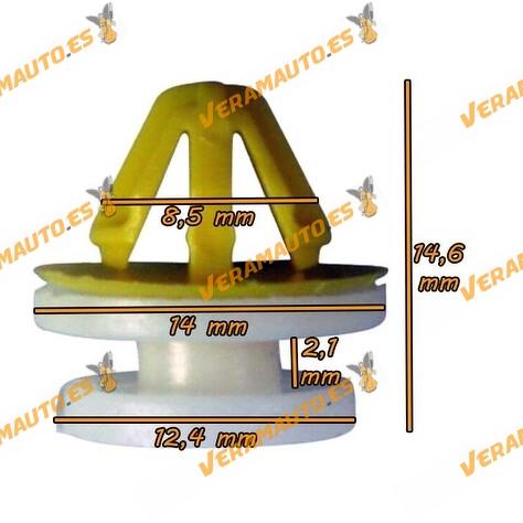 Set de 10 grapas de 8ø para tapiceria de puerta, maletero, techo y molduras similar 7701050734, DYC101420