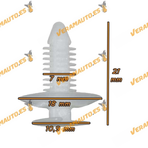 Set de 10 grapas para panel de puerta y guarnecido de espacio de carga Jumper Ducato Boxer Similar 9399W4