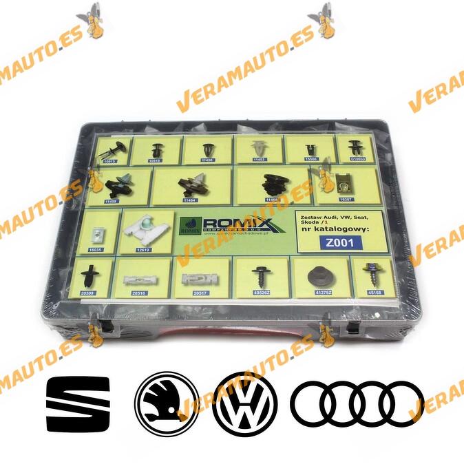 Maletin Nº1 de grapas de tapizados, molduras y paneles para Audi, Volkswaguen, Seat, Skoda