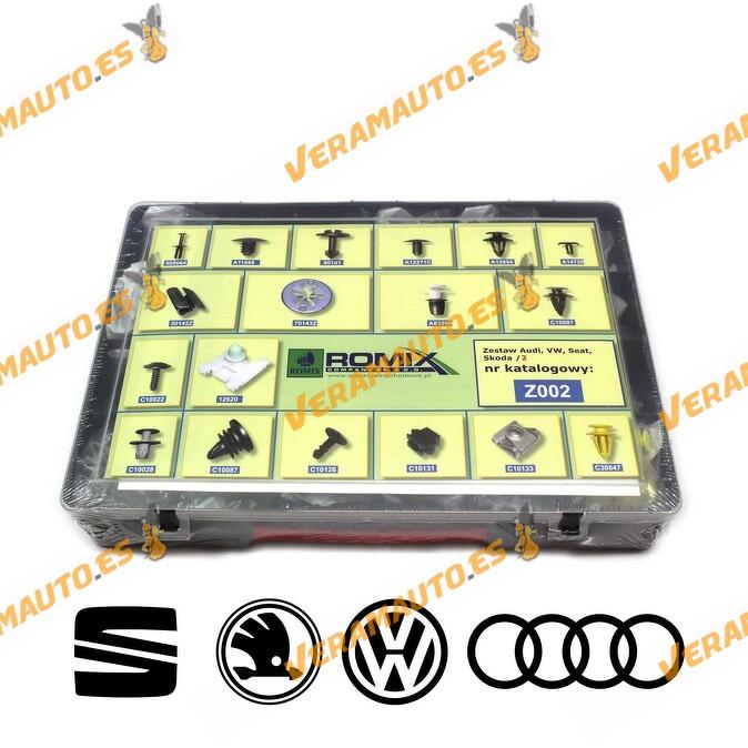 Maletin Nº2 de grapas de tapizados, molduras y paneles para Audi, Volkswaguen, Seat, Skoda
