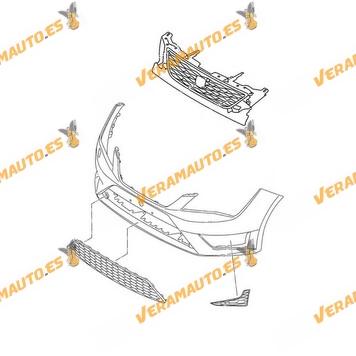 Paragolpes completo Seat Leon (5F) FR de 2013 a 2016 sin hueco para lavafaros similar a 5F0807217EP GRU