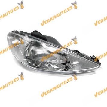 faro peugeot 206 del 1998 al 2004 lampara h4 delantero derecho regulacion manual y electrica