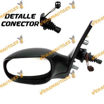 Rear view Mirror Peugeot 206 from 1998 to 2009 with Mechanical Control Thermic Black Left