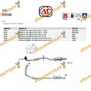 Catalizador Especifico Opel Corsa B | Combo de 1993 a 1996 Motores 1.5D | 1.7D | C1.7D | X1.7D | C1.5 | X1.5D OEM 5854205