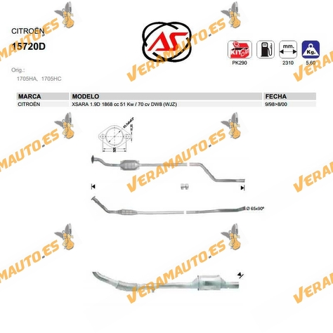 Catalizador Específico Citroen Xsara de 1998 a 2000 Motores 1.9 D 70 CV 51 KW Tipo DW8 | WJZ OEM Similar a 1705HA | 1705HC