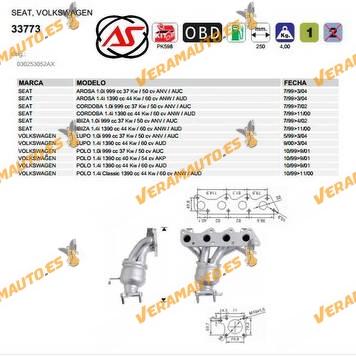Catalizador Especifico Seat Arosa Cordoba Ibiza Volkswagen Lupo Polo de 1999 a 2004 motores 1.0i 1.4i tipo AUC AUD AKP