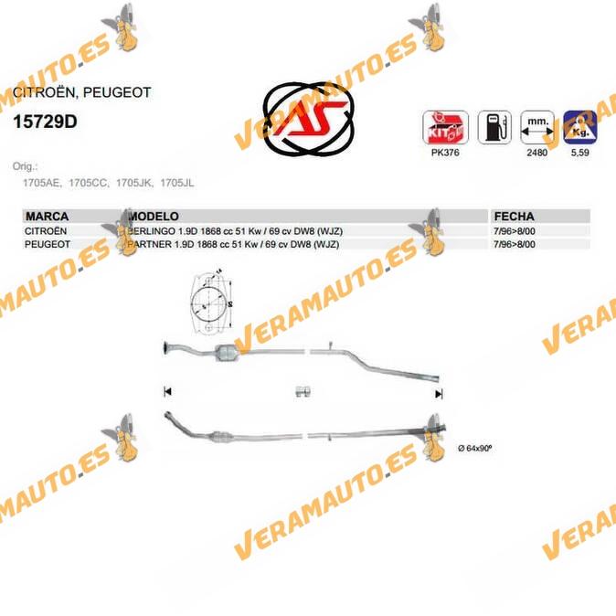 Catalizador Específico Citroen Berlingo | Peugeot Partner 1.9d Dw8 | Wjz OEM Similar a 1705ae | 1705cc | 1705jk | 1705jl