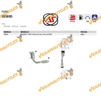 Catalizador Específico Ford Escort 1.8td 1753 Cc 51 Kw 70 Cv D18tc OEM Similar a 1013260 | 1070131 | 1104262