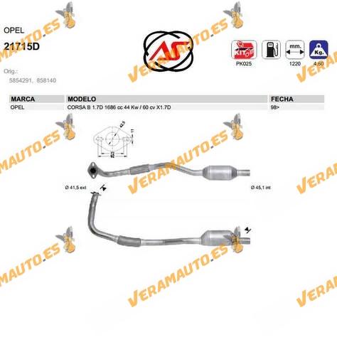 Catalizador Especifico Opel Corsa B 1.7d 1686 Cc 44 Kw 60 Cv X1.7d OEM Similar a 5854291 | 858140