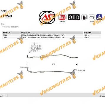 Catalizador Especifico Opel Corsa C | Combo 1.7 Td Di | Dti | 1686cc | Y1.7dtl | Y1.7dt | OEM Similar a 5852163 | 5852594