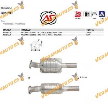 Catalizador Específico Renault Megane | Scenic | 1.9d | 1.9td 1870cc | F8q | F9q | OEM Similar a 7700437852 | 7700844693
